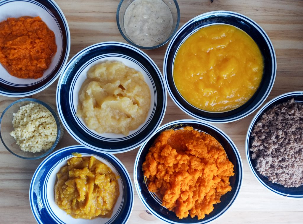 8 bowls of different foods that have been chopped or pureed into baby food