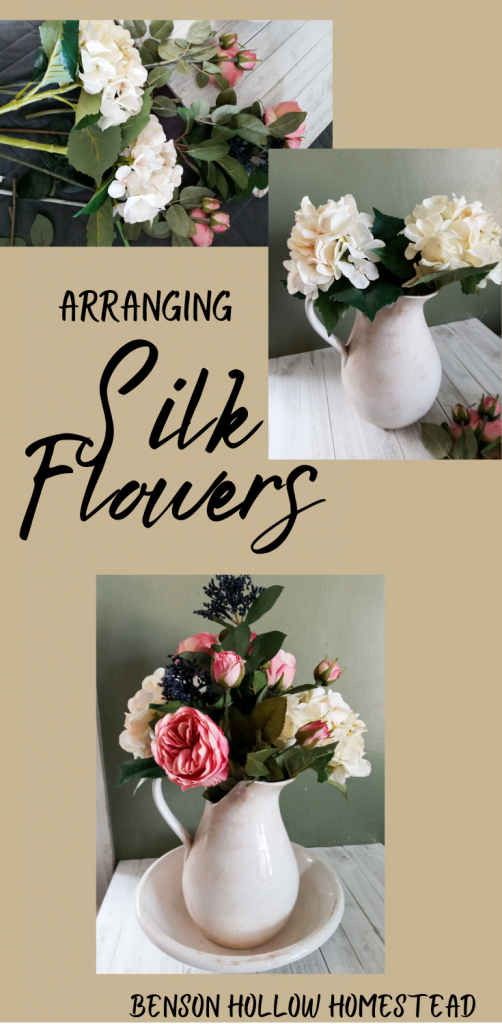 three pictures of a pink and white flower arrangement being made