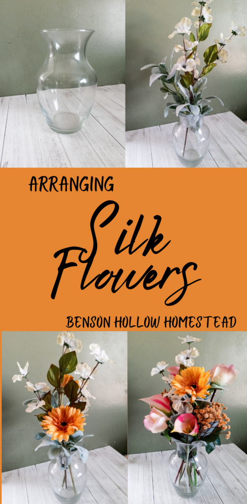 four pictures showing a flower arrangement being made